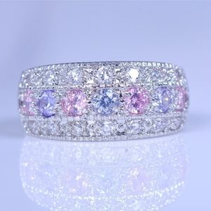 925 Princess ring w pink Sapphire and amesyth 7